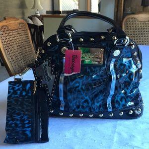 Betsey Johnson Vinyl Handbag Blue/Black Leopard